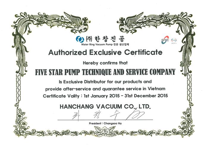 Giấy chứng nhận FISCO là nhà phân phối độc quyền bơm hút chân không vòng nước nhãn hiệu HANCHANG tại Việt Nam